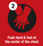 2 Push hard & fast at the center of the chest