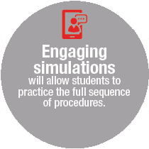 Engaging Simulations will allow students to practice the full sequence of procedures