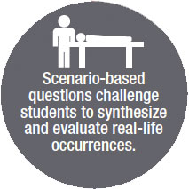 Scenario-based Questions challenge students to synthesize and evaluate real-life occurrences