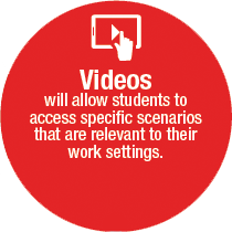Videos will allow students to access specific scenarios that are relevant to their work settings